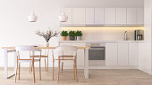 A shot of modern scandinavian-like kitchen. Render image.