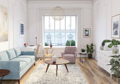Scandinavian interior design living room 3d render with mix of pastel colors