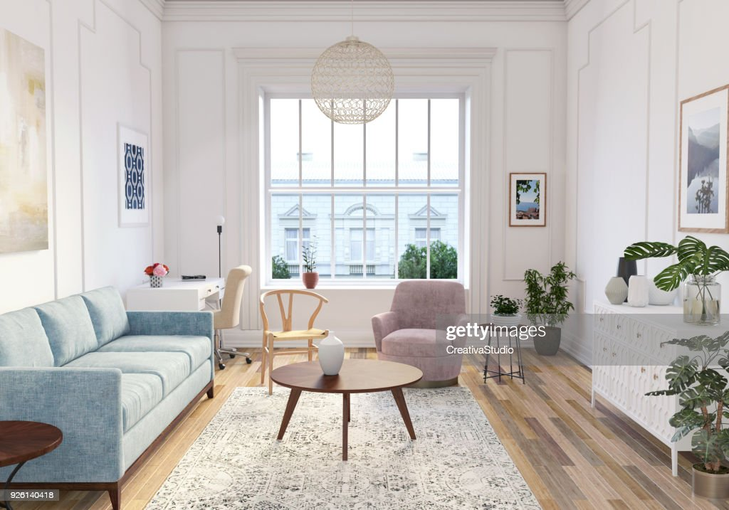 Modern Scandinavian Living Room Interior   3d Render : Stock Photo