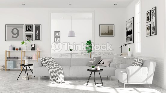 Modern Scandinavian Style Living Room Interior Concept Gray Sofa On
