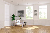 Modern scandinavian  style , living room  interior  concept,   white armchair  on wood floor with white wall,3Drender