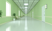 Modern corridor which can be used hotel, school or hospital scenes. ( 3d render )
