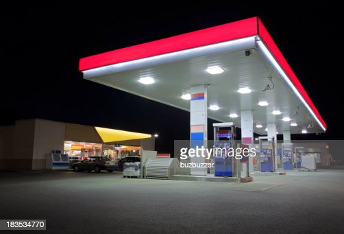 Modern Service Station With Store at Night