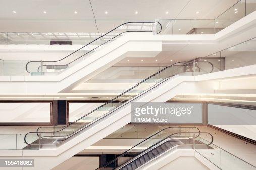 Modern shopping mall escalators