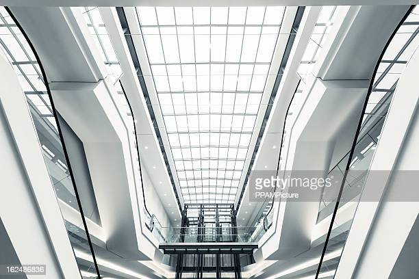 Modern shopping mall escalators