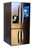 Modern side by side Stainless Steel Smart Refrigerator touch screen. Isolated on a White Background. 3d rendering