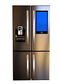Modern side by side Stainless Steel Smart Refrigerator touch screen. Copy Space, front view. Isolated on a White Background. 3d rendering