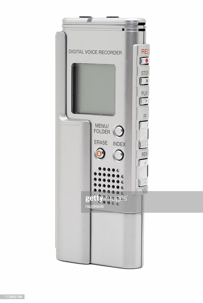 Modern Silver Digital Voice Recorder Isolated on White