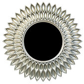 Modern silver round mirror frame sun or flower shape isolated white background.