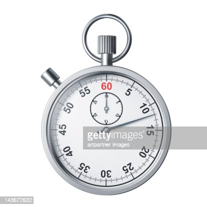 A modern silver stopwatch on white background : Foto stock