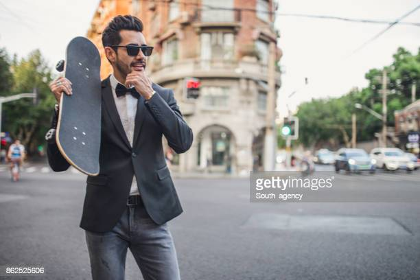 Modern skater guy in suit