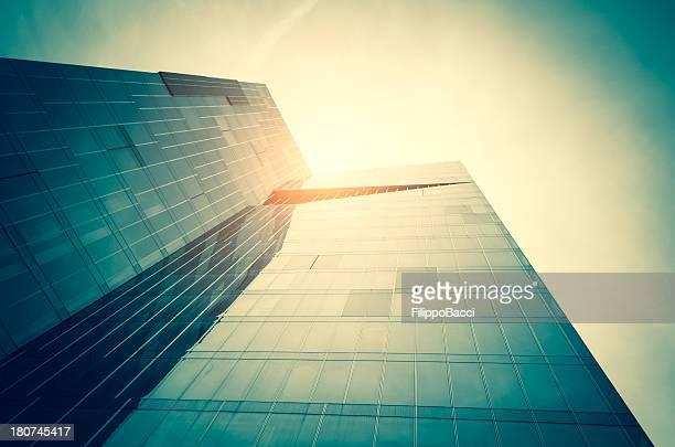 Modern skyscraper against sunlight