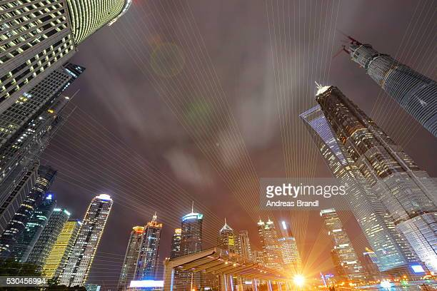 Modern skyscrapers and lights at Shanghai Lujiazui, Shanghai, China, Asia