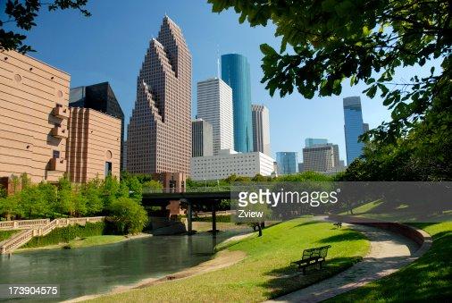 Moderna Estação do centro da cidade de arranha-céus da cidade de Houston, Texas, com navegação e Park