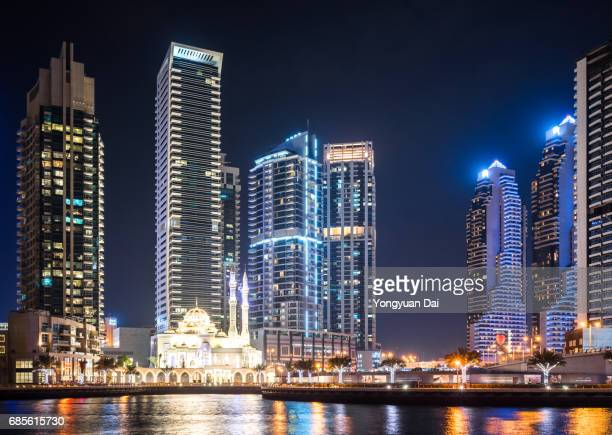Modern Skyscrapers in Dubai Marina at Night