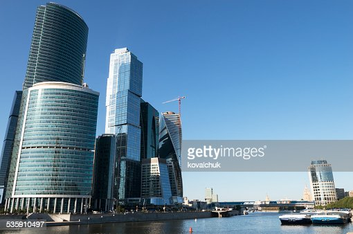 Modernos arranha-céus em Moscovo : Foto de stock