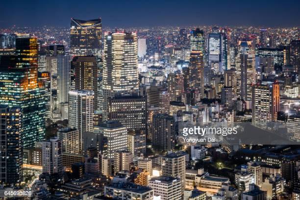 Modern skyscrapers in Tokyo at Night