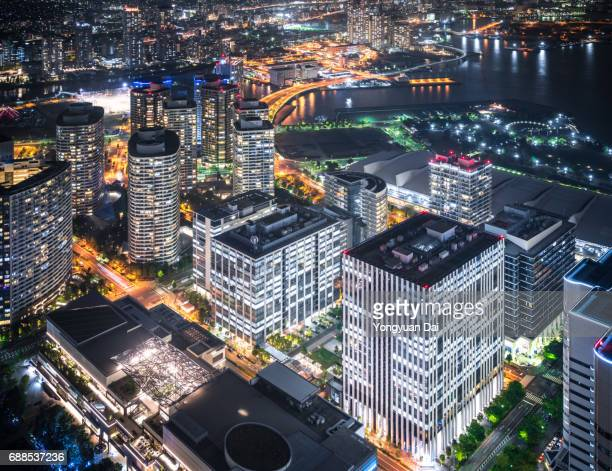Modern Skyscrapers in Yokohama Minato Mirai 21 at Night