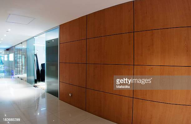 A modern, sleek office corridor