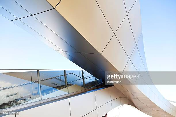 Modern staircase against blue sky
