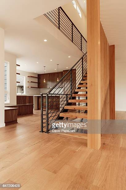 Modern Staircase, Metal Railings, Kitchen