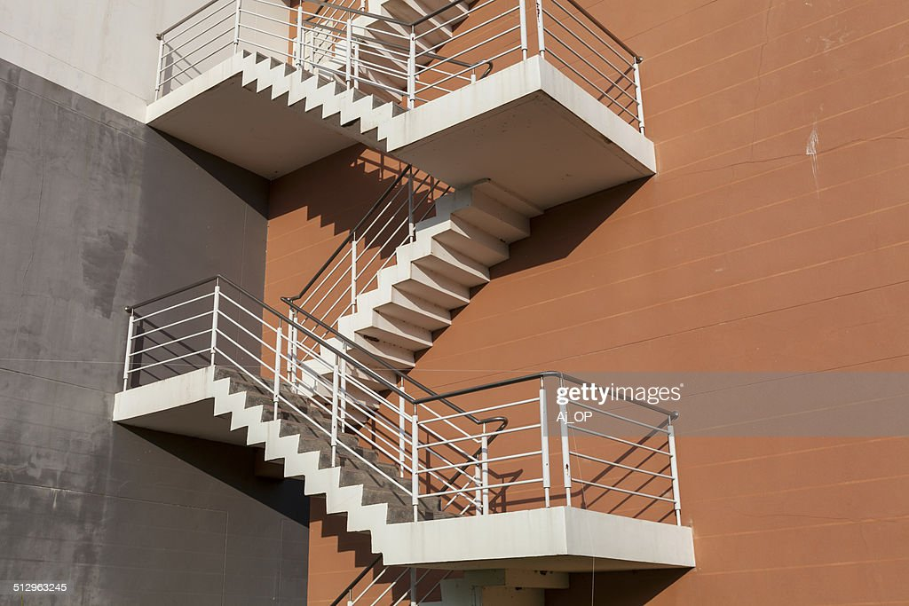 Modern Stairs Outside Bulding, Emergency Exit, Fire Escape, Orange Wall :  Stock Photo