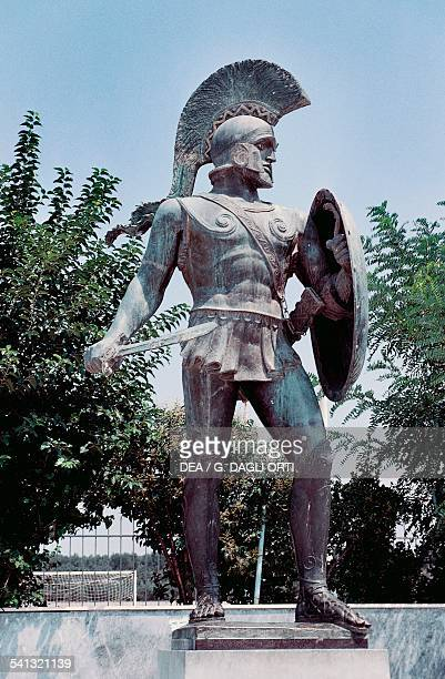 Modern statue of the Spartan leader Leonidas Sparta Greece