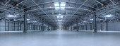 Large modern empty storehouse. Very big resolution panorama.