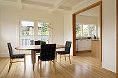 Modern style dinning room with hardwood floors