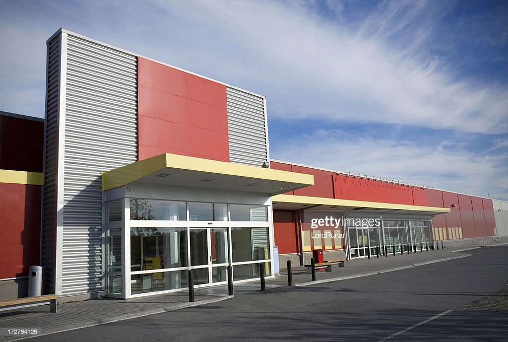 Modern supermarket stock photo getty images for Store building design