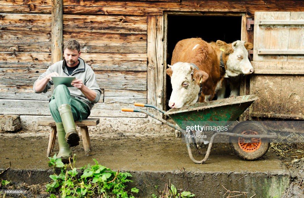 Modern Swiss farmer with digital tablet
