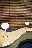 Modern table in office lobby