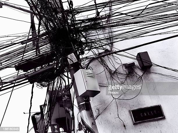 Modern Times - Telephone,  electricity  pole and wires