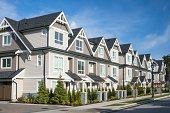Row of the new townhouses in Richmond, British Columbia.