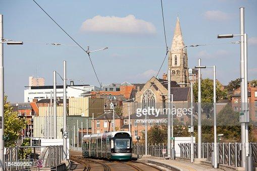 Modern tram in Nottingham City centre.