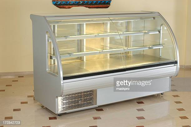 A modern transparent refrigerator for food industry