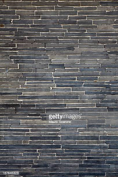 Modern trend,  black flagstone brick wall.