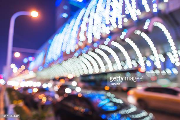 Modern urban night lights defocused abstract background