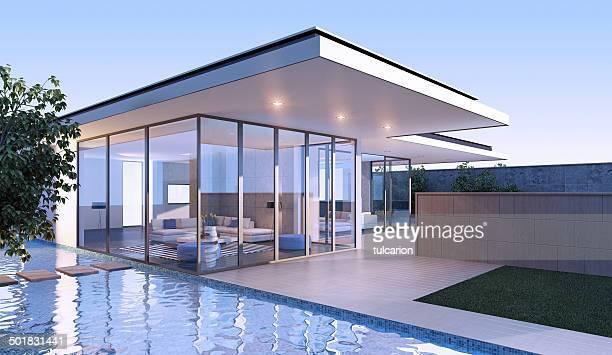 Villa moderna ao pôr do sol