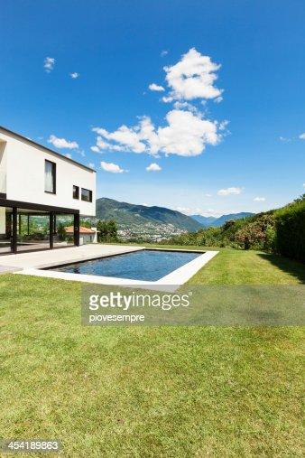 Modern villa with pool : Stock Photo