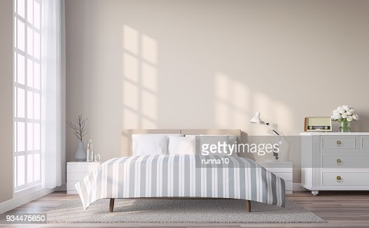 Modern vintage bedroom with light brown wall 3d render : Stock Photo