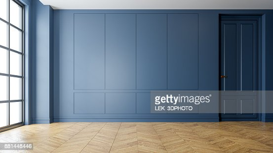 Modern vintage interior of living room,parquet flooring and blue wall,empty room  ,3d rendering : Stock Photo