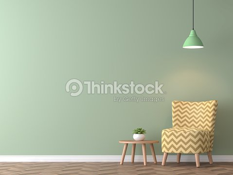 Modern vintage living room with green wall 3d rendering image : Stock Photo