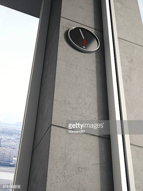 Modern wall clock on concrete wall of high-rise building, 3D Rendering