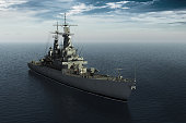 Modern Warship In High Seas. 3D Illustration.