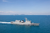 Modern frigate sailing in the gulf of Thailand