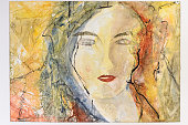 Modern watercolor sketched portrait of the face of a young woman in a color wash or blended style of red, yellow and black paint hues