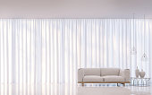 Modern white bedroom minimal style 3D rendering Image.There are decorate room with white translucent curtain and white furniture