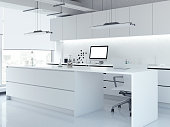Modern white clean laboratory with big windows. 3d rendering
