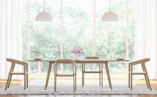 Modern white dining room 3d rendering image stock photo for Dining room 3d view
